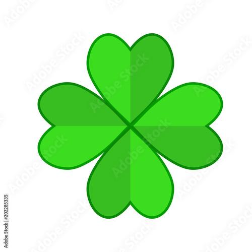 Four Leaf Green Clover Hand Draw Lucky Quatrefoil Good Luck Symbol