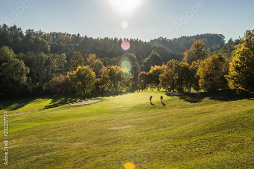 Obraz na plátně Golfplatz im Herbst