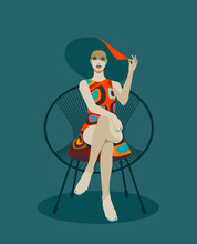 Fashionable Woman With Hat Sit...