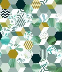 Fototapeta Wzory geometryczne Trendy seamless background pattern with hexagon tiles in green, eps10