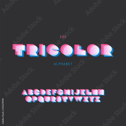 "Photo  ""Tricolor"" Bold Font Set - Vector Design - Retro Style Typography"