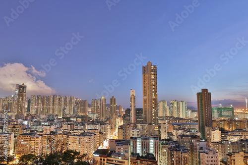 Photo  Downtown of Hong Kong, high density, poor area.