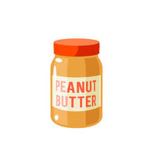 Breakfast, Delicious Start To The Day. Peanut Butter Jar. Vector Illustration Cartoon Flat Icon Isolated On White.