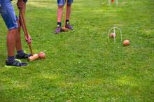 Children Playing Croquet In Su...
