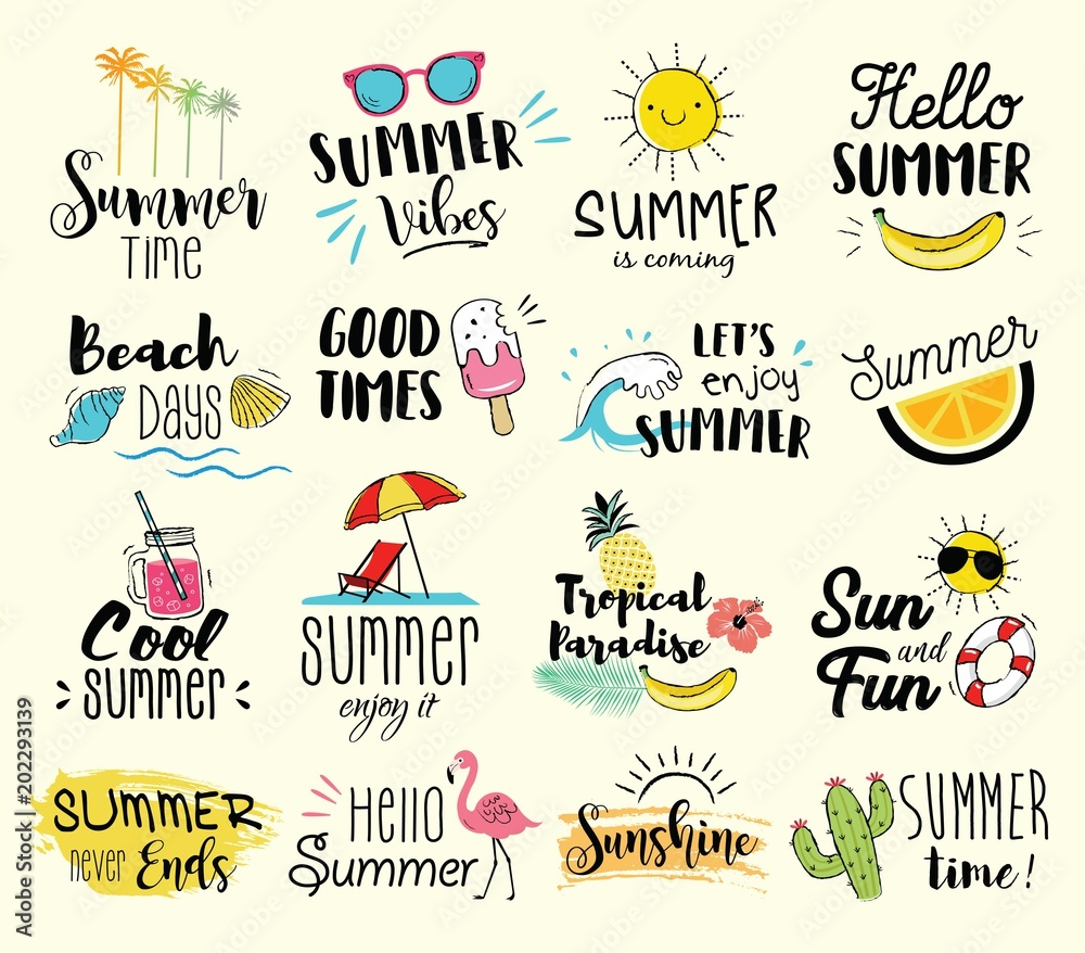 Fototapety, obrazy: Summer labels, logos, hand drawn tags and elements set for summer holiday, travel, beach vacation, sun. Vector illustration.