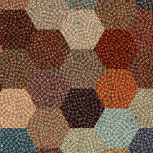 Hexagonal Background In Pastel Brown, Blue And Beige With Knitted Effect