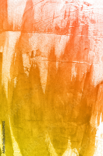 Spoed Foto op Canvas Weg in bos Orange watercolor paint background.