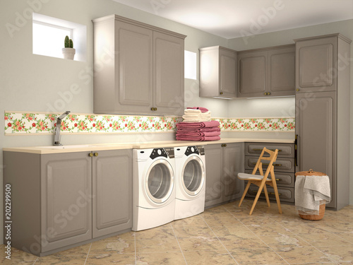 Cuadros en Lienzo Design room for washing and cleaning. 3d illustrator
