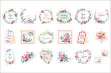 Vector Set Of Beautiful Floral...