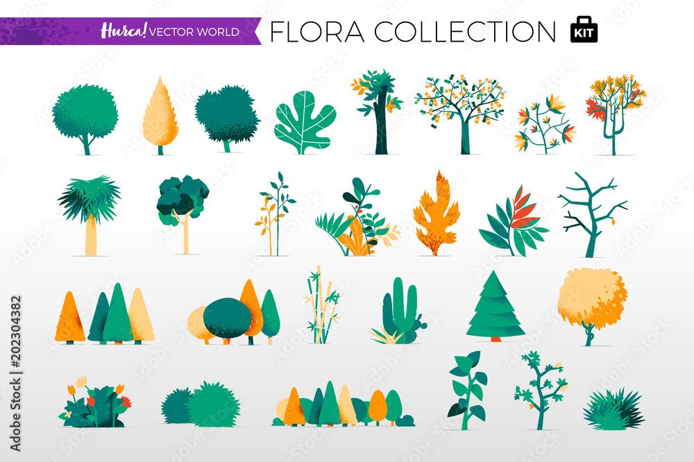 Fototapeta Collezione di alberi e piante da giardino
