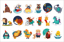 Flat Vector Set Of Fairy Animals In Different Actions. Cute Cartoon Characters. Colorful Design For Children Book, Print Or Postcard