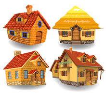 Cartoon Collection Of Four Fairy Tale Houses Isolated On A White Background