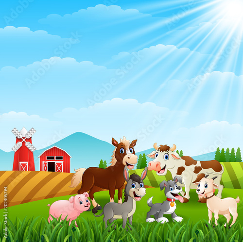 Wall Murals Ranch Happy animals at farm background