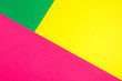 canvas print picture - Color papers geometry flat composition background with yellow, green, and pink tones