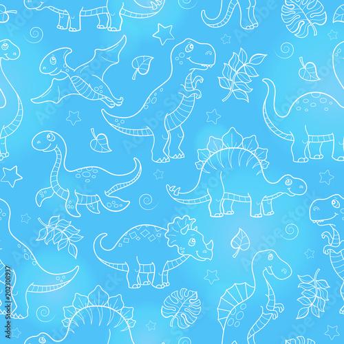 Materiał do szycia Wzór z dinozaurów i liści, wyprofilowane zwierząt na niebieskim tle