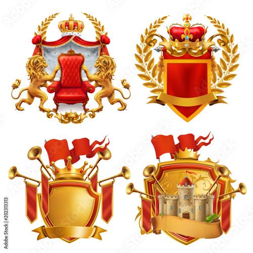 Foto  Royal coat of arms. King and kingdom, 3d vector emblem set