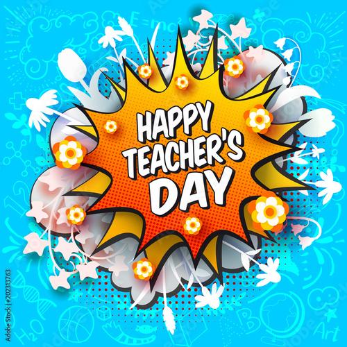 Happy teachers day comic book style greeting card with blob and happy teachers day comic book style greeting card with blob and paper art cut out m4hsunfo