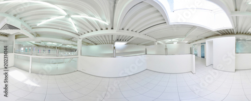 Tela Spherical 360 degrees panorama projection, in interior empty long corridor with doors and entrances to different rooms