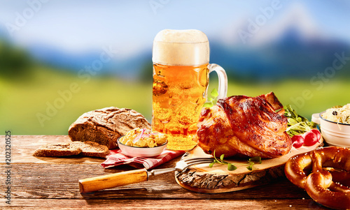 Fotografie, Obraz  Traditional German set of food with glass of beer