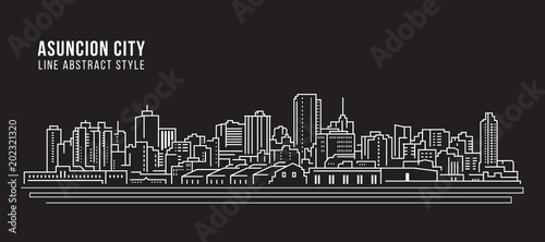 Cityscape Building Line art Vector Illustration design - Asuncion city Wallpaper Mural