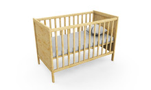 Wooden Cot Bed Isolated On White Background. 3d Rendering.