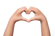 Close Up Of Child Hands Formig Heart Shape Isolated On White Background