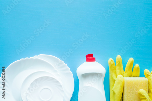 Plastic bottle with cleanser, sponge, rubber protective gloves for dish washing up. Housewife cares about kitchen utensil. Daily routine duties. Female's home responsibilities. Empty place for text.