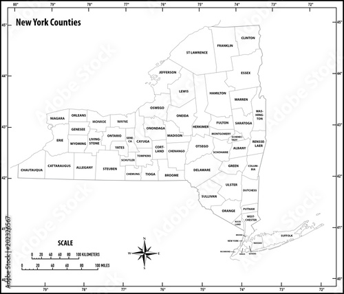 new york state outline administrative and politicalvector map in black and white