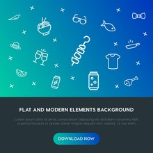 Food, Clothes, Drinks Outline Vector Icons And Elements Background Concept On Gradient Background.Multipurpose Use On Websites, Presentations, Brochures And More