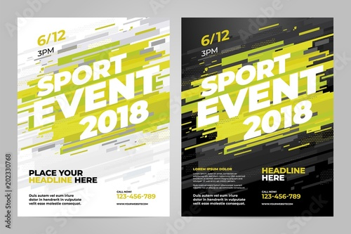 Vector layout design template for sport event. Tablou Canvas