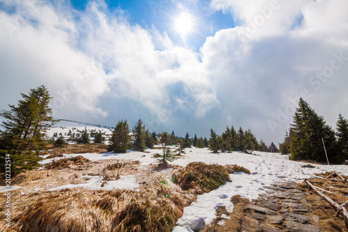 Foto op Aluminium Bleke violet Beautiful landscape of High Tatras. The High Tatras Mountains, are a mountain range along the border of Slovakia, and southern Poland in the Lesser Poland Voivodeship.