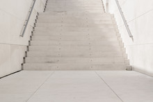 White Stairs In An Urban Street Background. No Pople Backdrop And Sun Light.