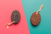 Cosmetic Pumice On A Bright  Bicolor Background, Top View