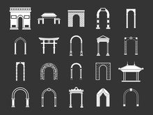 Arch Icon Set Vector White Isolated On Grey Background