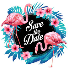 Blue Summer Tropical Palm Leaves With Exotic Flamingo And Hibiscus Flowers. Vector Floral Background.