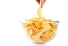 Potato Chips, Crisps In The Bowl