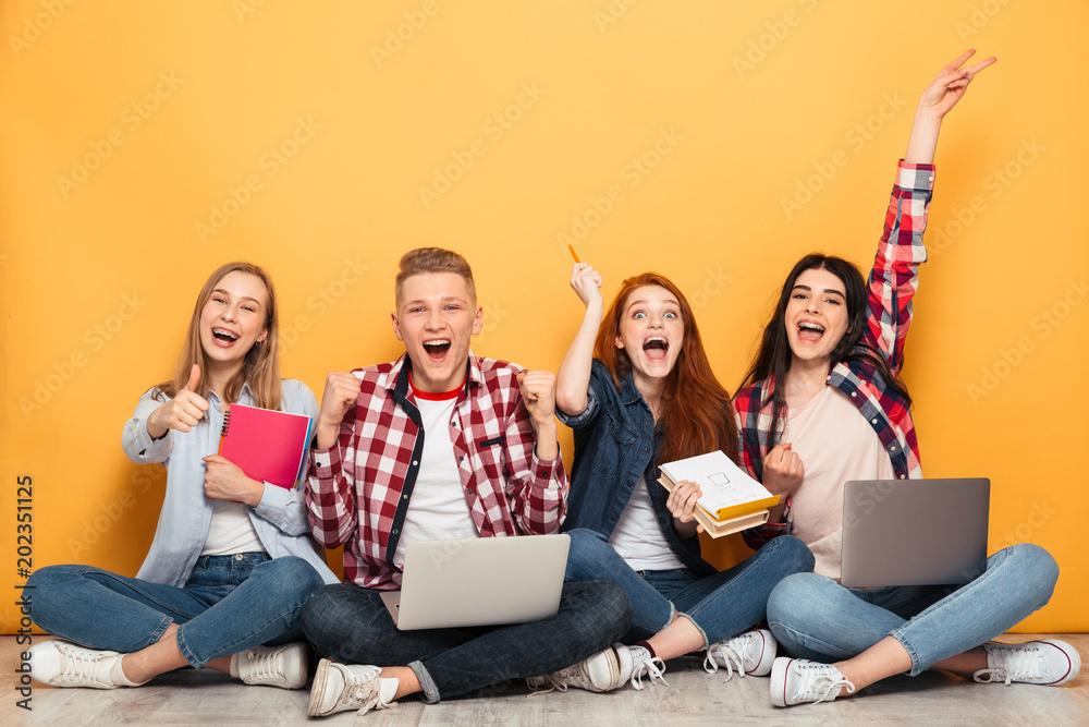 Fototapeta Group of happy school friends