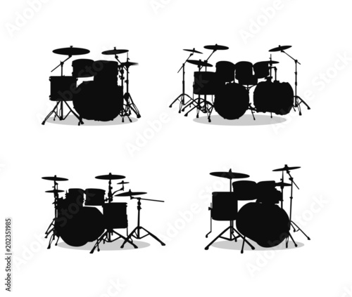 Photographie Drum Kit Silhouette Set