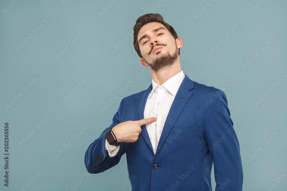 Fototapeta Closeup portrait of proud man pointing finger himself