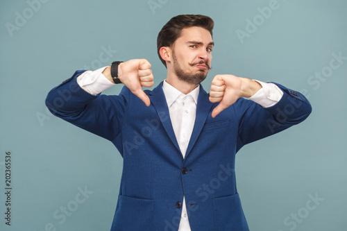 Fototapeta No , it's bad news! Man showing dislike