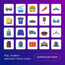 Modern Simple Set Of Transports, Food, Clothes Vector Flat Icons. Contains Such Icons As School, Jacket, Car,  Vehicle,  Jacket,  Clothes And More On Gradient Background. Fully Editable. Pixel Perfect