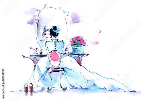 Keuken foto achterwand Schilderingen feminine beauty
