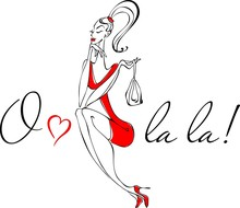 Pretty Woman In Paris - Illustration. The French Exclamation - O La La Admiration. Design Element For Cards, Banners, Flyers.