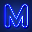 canvas print picture - Letter M realistic glowing blue neon letter against a blue background
