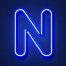 Letter N Realistic Glowing Blu...