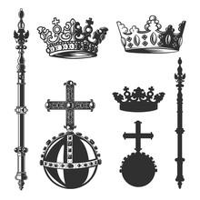 Heraldic Symbols, Monarch Set. Vector Illustration.