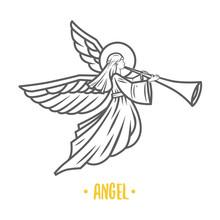 Angel God. Vector Illustration.