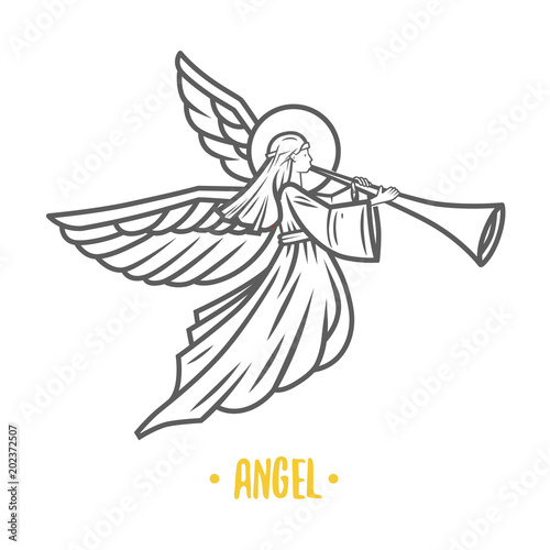 Fotografering Angel god. Vector illustration.