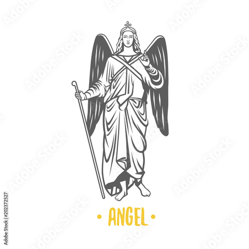 Angel god, illustration. Wallpaper Mural