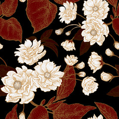 Fototapeta Vintage Vector seamless pattern with flowers of the Chinese plum.
